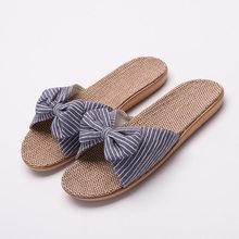 Stripes Bow Home Slippers Cotton Indoor Shoes Linen Slippers Female Slippers Flip Flops Shoes Women 2016 home slippers women indoor floor flax slippers men breathable linen slipper home bedroom slippers women shoes awm116