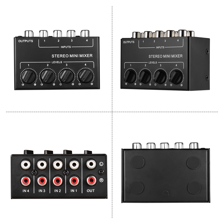 Mini Stereo Audio Mixing konsole mit 4-Kanal RCA Eingänge Separaten Volumen Steuert Volle Metall Shell schwarz neue ankunft