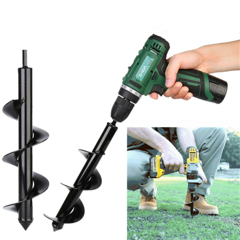 4 Sizes Garden Auger Drill Bit Tool Spiral Hole Digger Ground Drill Earth Drill For Seed Planting Gardening Fence Flower Planter