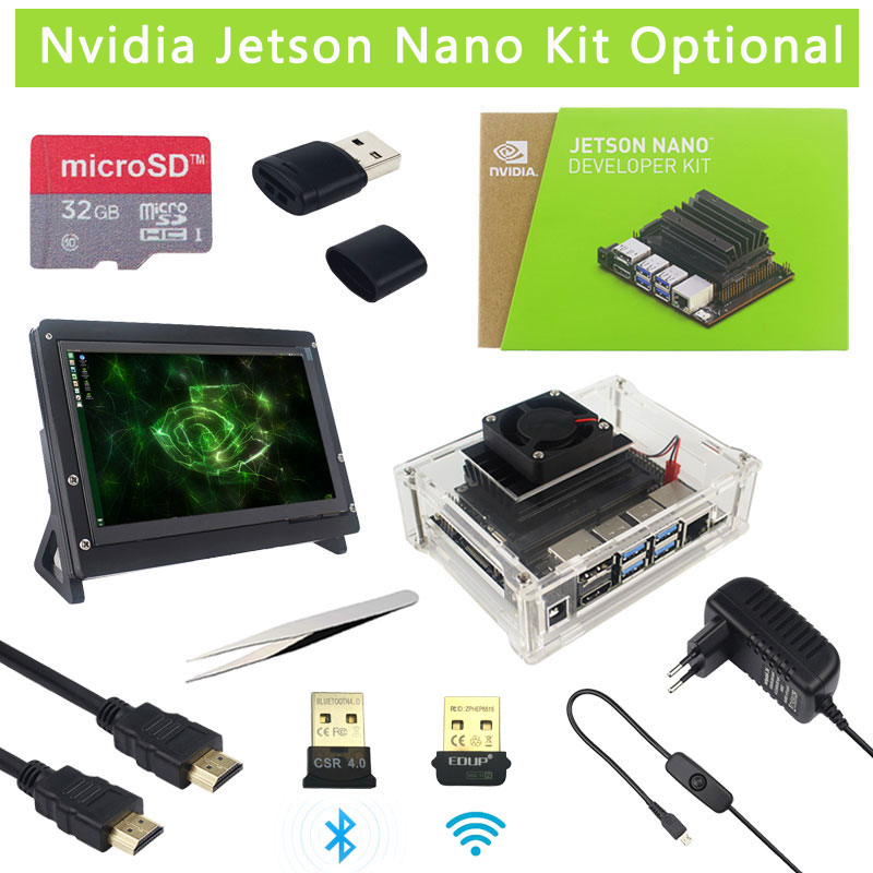 Original Nvidia Jetson Nano Development Kit + Case + Power Adapter Optional | SD Card | 8MP Camera |7 Inch LCD | WiFi Adapter