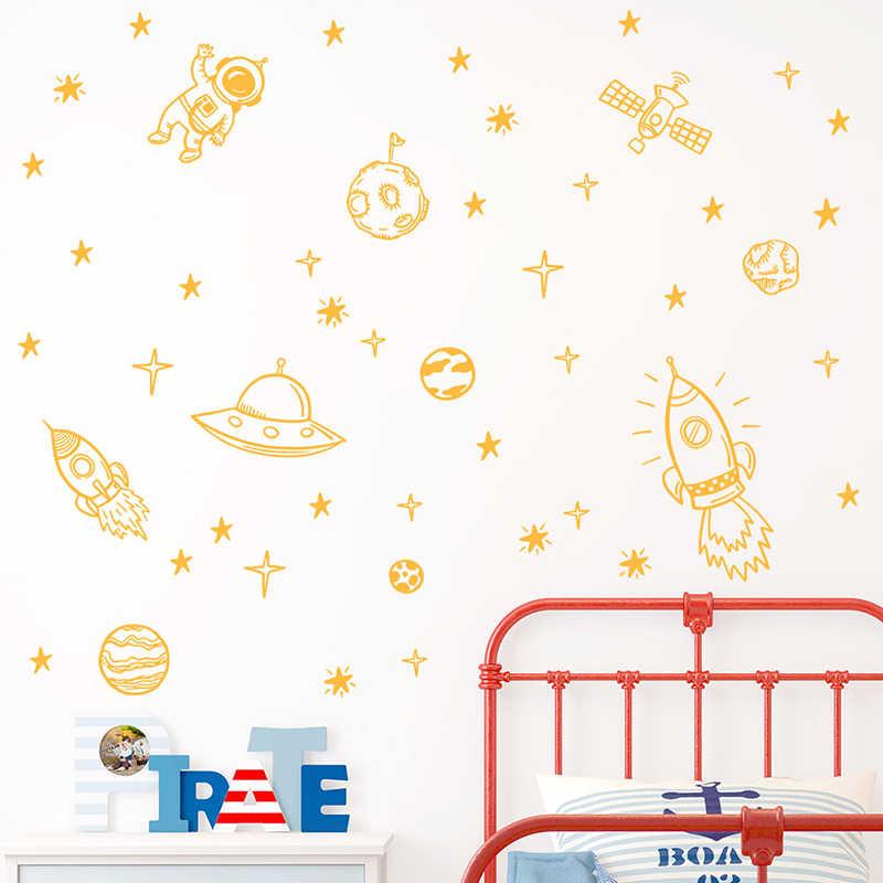 Fusée bateau astronaute créatif vinyle Stickers muraux pour garçon chambre décor espace extérieur mur décalcomanie pépinière enfants chambre Art décoration