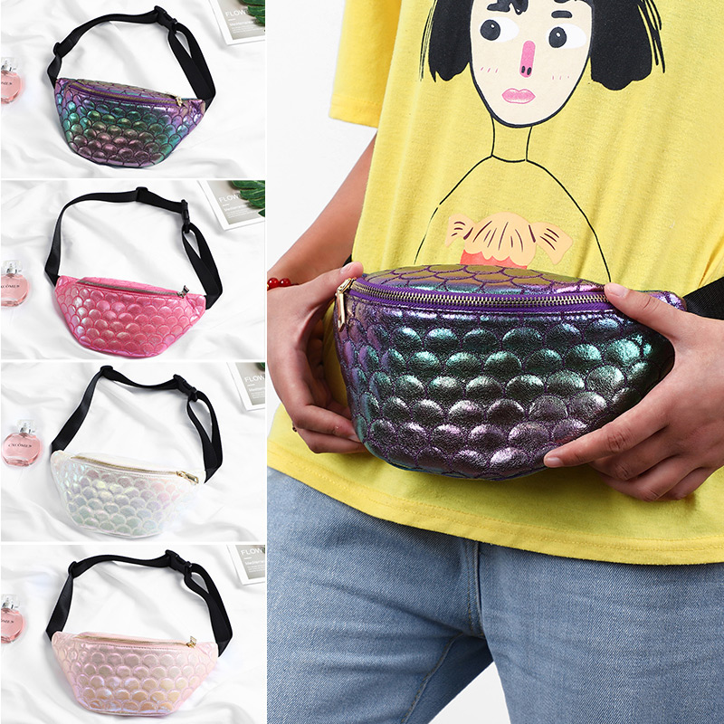 Fish Scale Pattern Waist Bags Women Colorful Pillow Fanny Pack Casual Pack Phone Money Belt Bags Ladies Female Chest Packs