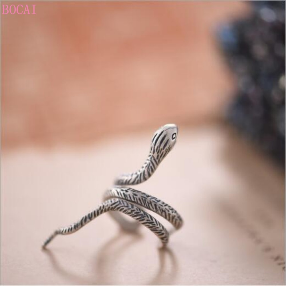 Thai silver rings for men and women s925 Sterling Silver retro snake male and female ring  adjustable opening rings