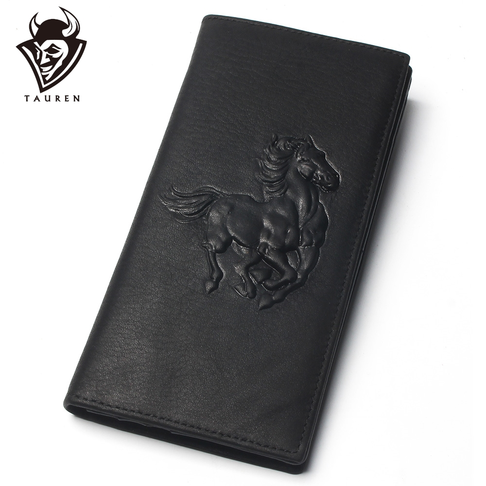 Men Black Horse Relief Stamp 100% Genuine Leather Long Wallet Men's Long Credit Card Travel Wallet Leather Hand Purse For Men