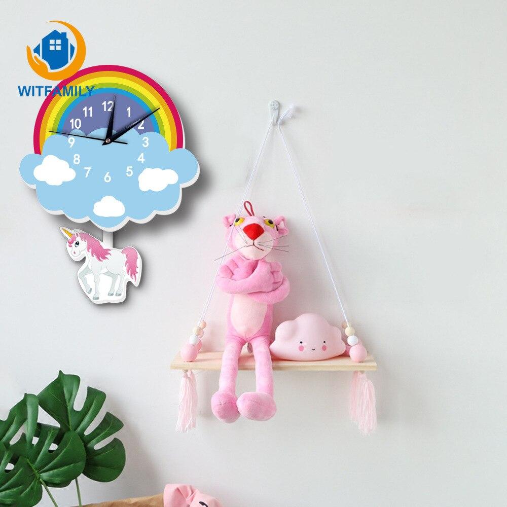 Background Wall Kid's House Decoration Unicorn Rainbow Pendulum Bell Cartoon Decor Nordic Clock New Arrival Hanging Clocks