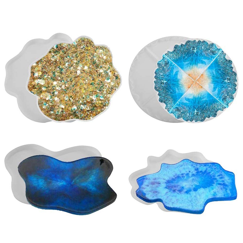 4 Pack Silicone Resin Molds Irregular Coaster Molds Puzzle Silicone Mold Flexible Geode Agate Molds For Making Coaster, Bowl Mat