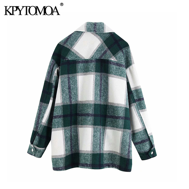 Vintage Stylish Plaid Jacket Coat Lapel Collar Long Sleeve Loose Outerwear Chic Tops 4