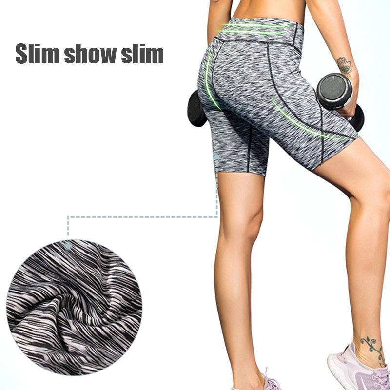 Comfortable Outdoor Indoor Yoga Shorts With Side Pockets Tummy Control Workout Running Yoga Leggings  X85