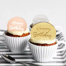 1pc New 5cm Gold Circle Happy Birthday Cupcake Topper Acrylic Round Engraved Cake Topper for Birthday Party Cake Decorations