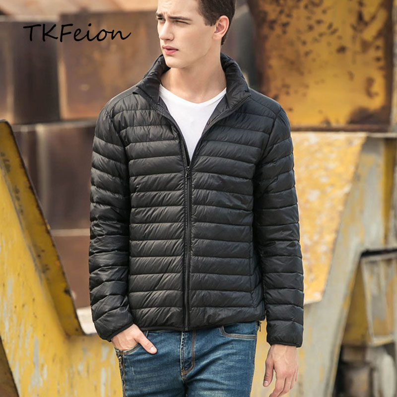 Spring/Autumn Mens Slim Jackets Warm Duck Down Fashion Light Thin Stand Collar Plus 5XL 6XL 7XL Male Winter Coats Factory Outlet