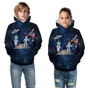 Image 3 - エイリアンロケットパーカー少年少女のため 10 12 年子供トレーナー 3Dプリントパーカーティーンスポーツウェア春秋の子供服
