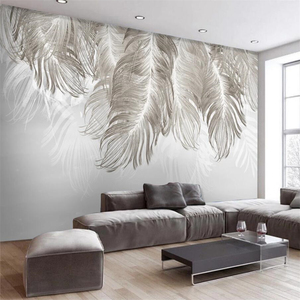 Beibehang Custom wallpaper 3d photo mural papel de parede Nordic style wall simple and elegant mural blues feather 3d wallpaper