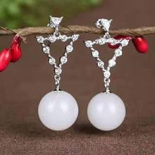 Drop Shipping Real 925 Sterling Silver Drop Earrings Ear Pin Natural Round Jade Handmade Wedding Earrings For Women Gifts недорого