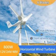 Generador de turbina para uso doméstico, máquina de generación de energía con 6 aspas, 800W, 12v-24v y controlador PWM libre, para uso en el hogar