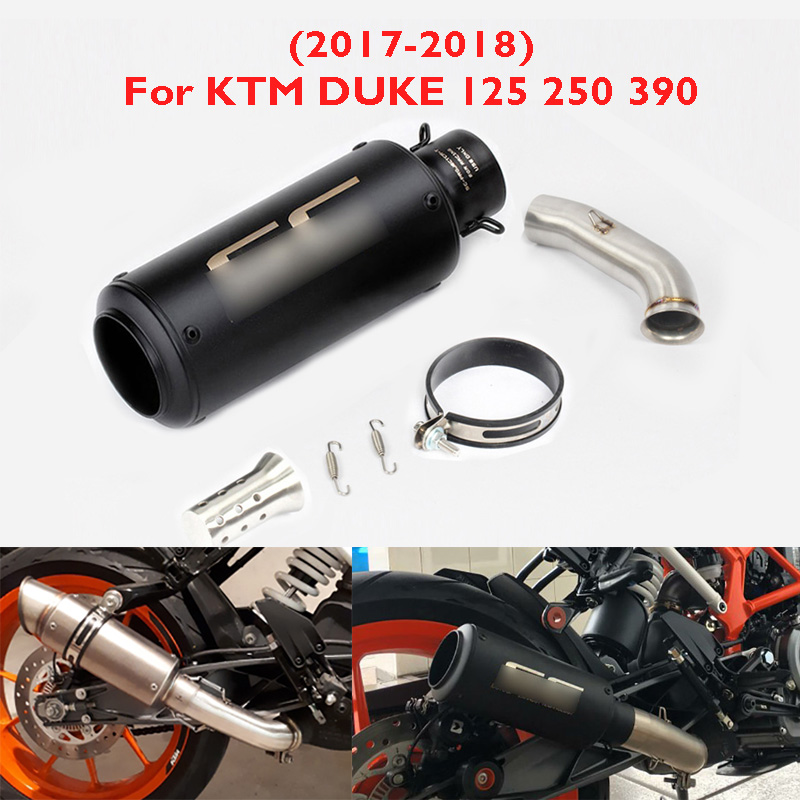Slip on Duke 125 250 390 RC390 Motorcycle Exhaust Tip Muffler Mid Connect Link Pipe for KTM Duke 125 250 390 RC390 2017 2018 image