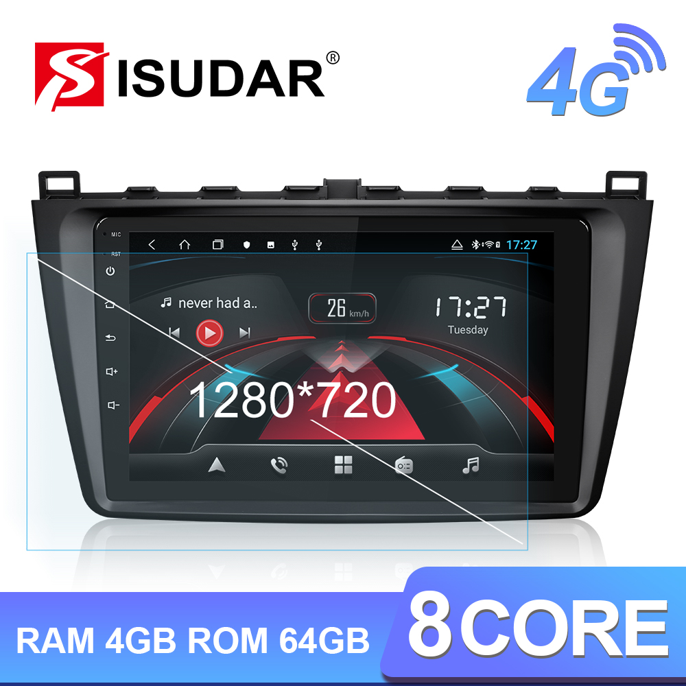 Isudar H53 4G 1280*720 <font><b>Android</b></font> 1 Din Auto Radio For <font><b>Mazda</b></font> <font><b>6</b></font> 2 3 GH 2007-2012 Car <font><b>Multimedia</b></font> GPS 8 Core RAM 4G ROM 64G Camera DVR image