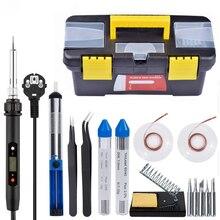 60W Lötkolben Toolbox 110V /220V Einstellbare Temperatur Schweißen Kit Löten Bord Set Reparatur Werkzeug