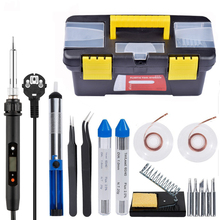 60W Soldering Iron Toolbox 110V /220V Adjustable Temperature Welding Kit Soldering Board Set Repair Tool