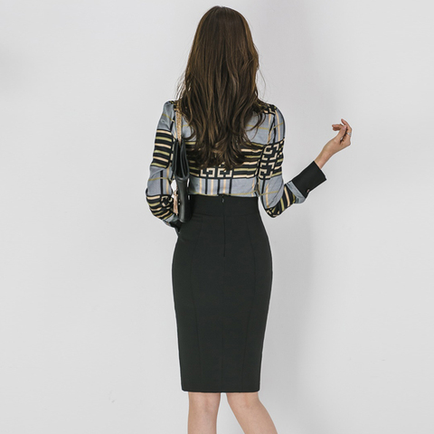 2 Piece Sets Women 2019 Summer autumn Office Lady Top Shirt Bodycon Pencil Skirt Knee-Length Eleagnt Slim Suit sets Karachi