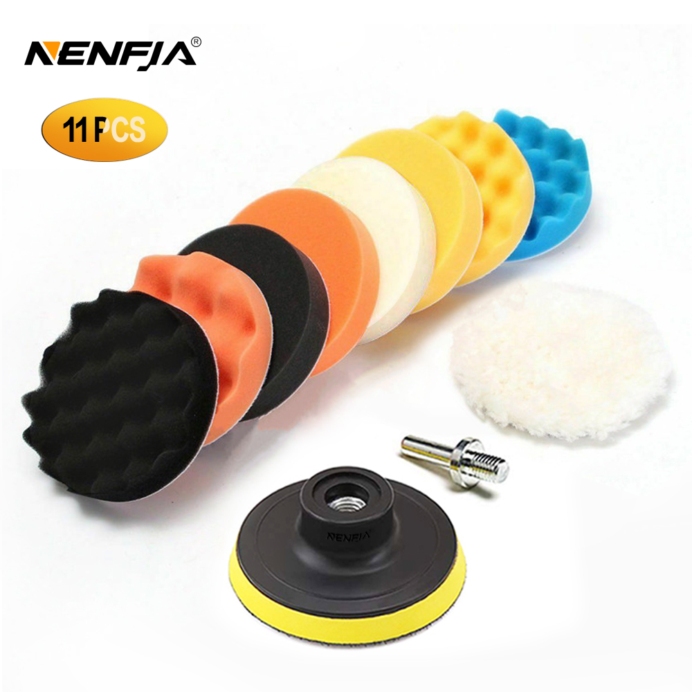 11Pcs 3/4/5/6/ Inch Waffle Buffer Polishing Pad Set For Car Polisher + Drill Adaptor M10 M14 Power Tools