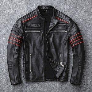 Image 3 - Yr! frete grátis, vendas. preto masculino jaqueta de couro genuíno. casaco de couro. curto magro crânio motociclista do motor jaquetas, mais tamanho