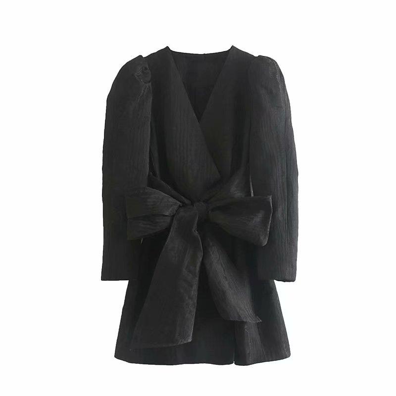 Women High Street Bow Decorate Black Mini Dress Autumn Ladies Vintage Puff Sleeve Cross V Neck Chic Brand Kimono Dresses DS2870