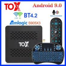 TOX1 Amlogic S905X3 Смарт Android 9,0 ТВ коробка 4 Гб Оперативная память 32G Встроенная память 2,4G 5G Wi-Fi 1000 м BT4.2 Декодер каналов кабельного телевидения Подде...