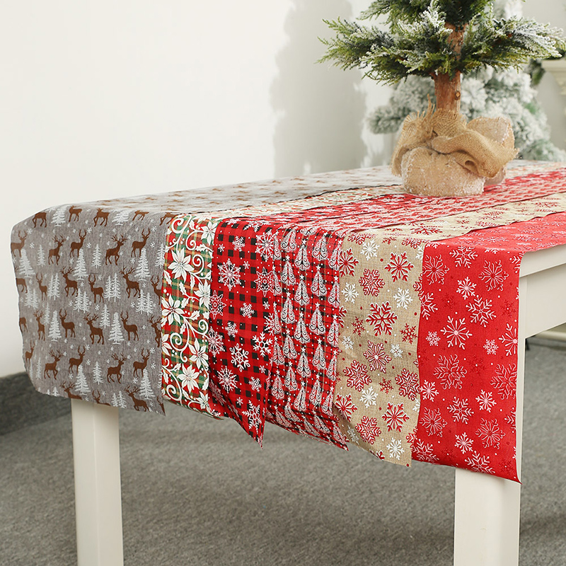 28*270cm Creative Christmas Table Runner Linen Christmas Runner Printed Snowflake Tablecloth Christmas Decorations For Home