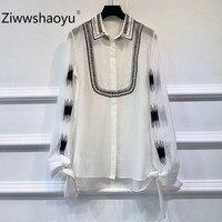 Ziwwshaoyu Women's Autumn High Quality Cotton Yarn Blouse Top Shirt Elegant Bow Lantern Sleeve Embroidery Ladies Blusas Shirt