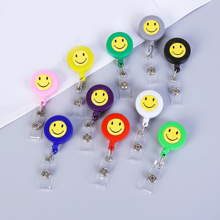 Smiley Face Easy Pull Button ID Department Brand Name Badge Holder Rolling Key Ring Chain Clip School Student Office Badge Reel