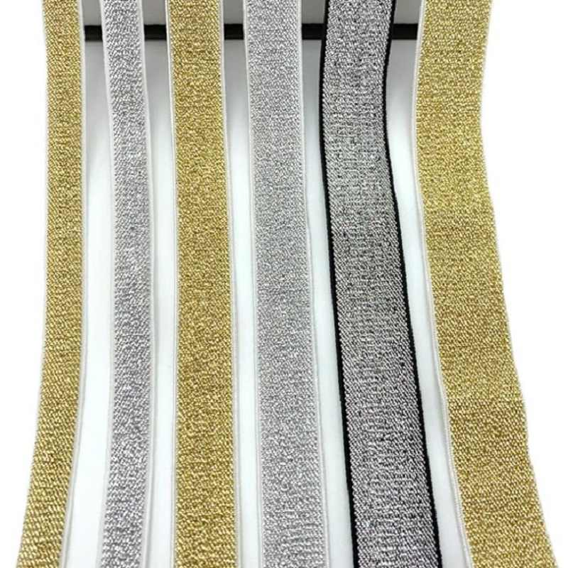 Gold Silver Glitter Elastic Bands 10/15/25/40mm Rope Rubber Line Ribbon Sewing Lace Trim Waist Band Garment Accessory DIY