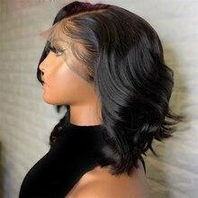 Perucas lace front onduladas de cabelo humano com baby hair, peruca lace front de cabelo natural preto de malásia para mulheres negras, 13x6