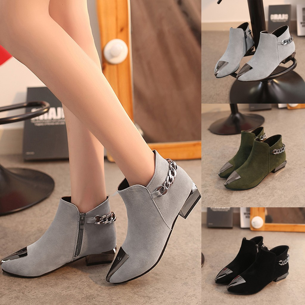 2020 Spring Winter New Women Fashion Pointed Metal Decoration Ankle Boots Plus Velvet Cool Short Boots High Quality Shoes #O15