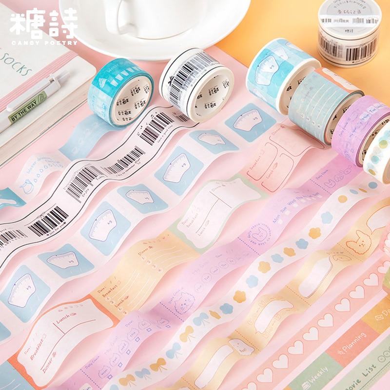 Kawaii Washi Tape Life Diary Masking Tape 3 Size Text Symbol Pattern Washi Stickers Washi Tape Vintage Decorative Adhesive Tape