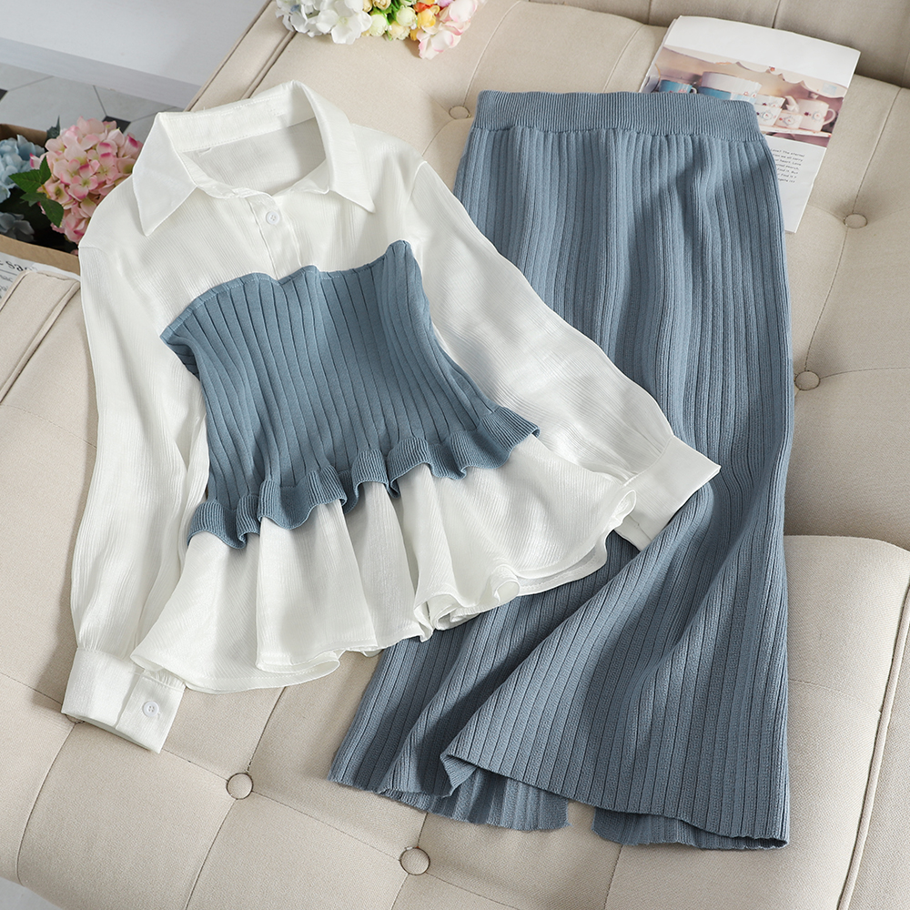 New Spring Autumn Fashion Women's Sets Slim OL Pullover Spliced Shirts High Waist Pencil Pleated Knitted Skirt 2 Piece Set Mw826