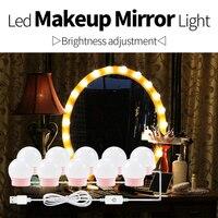 Зеркальный светильник для туалетного столика, Светодиодная лента, USB, 5 В, плавная регулировка яркости, туалетный столик, светодиодный свети...