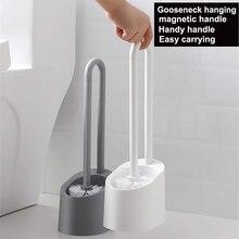 Tuvalet fırçası yumuşak kıl banyo manyetik süspansiyon tuvalet kase fırça ve tutucu seti dayanıklı termoplastik kauçuk
