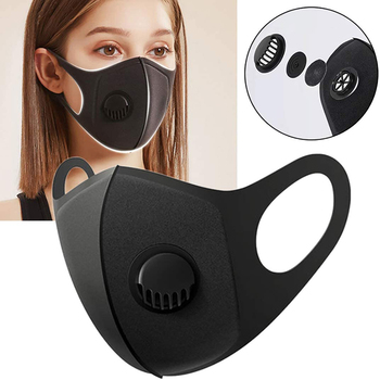 2pcs Face Protective Mask Kpop Cotton Black Valve Mask Mouth Face Masks Anti PM2.5 Dust Maske Washable Reusable