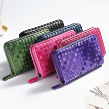 2020 New Ladies Luxury Leather Purse Long Leather Bag Brand Sheepskin Woven Large Capacity Clutch Men's Zipper Wallet Card