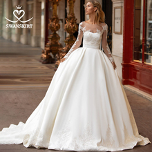 SWANSKIRT elegancka suknia ślubna 2 w 1 2020 aplikacje satynowa linia księżniczka dostosowane suknia ślubna Vestido de novia I326
