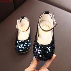Dziewczęca księżniczka modne buty wyczynowe dziecięce kryształowe szpilki brokatowe druhny Mary Jane cekiny sandały| |   -