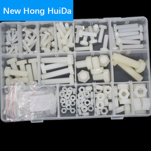 White Nylon Hex Bolt Metric Thread Plastic External Hexagon Machine Screw Nut Flat Washer M4 M5 M6 M8 M10 Assortment Kit Set sale 364pcs set nylon material black nylon rubber flat ring repair washer gasket for metric m2 m8 wholesale quick delivery csv