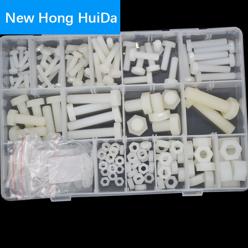White <font><b>Nylon</b></font> Hex Bolt Metric Thread Plastic External Hexagon Machine <font><b>Screw</b></font> Nut Flat Washer M4 M5 M6 M8 <font><b>M10</b></font> Assortment Kit Set image