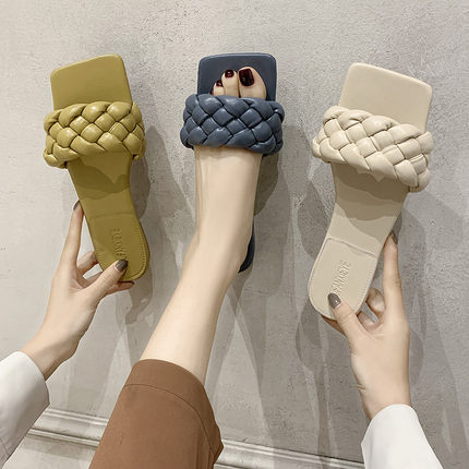 Women's Shoes Slippers Outdoor 2020 New Summer Beach Shoes Fashion Woven Non-slip Flat Shoes