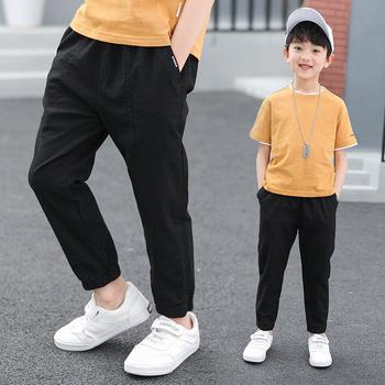 Spodnie chłopięce dla dzieci wiosna jesień trwała bawełna pełne spodnie Casual Slim Stretch spodnie dresowe dla joggerów 6-16 lat tanie i dobre opinie famli COTTON REGULAR Chłopcy Z KIESZENIAMI Pełna długość Dobrze pasuje do rozmiaru wybierz swój normalny rozmiar