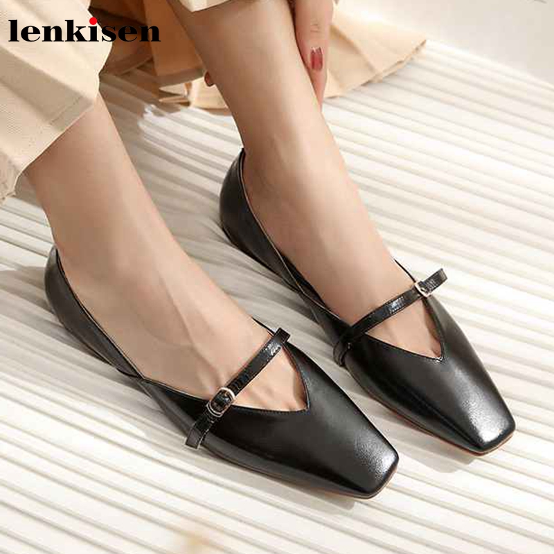 Lenksien vintage Mary janes ladies shoes genuine leather flats with square toe buckle straps solid women simple style shoes L28