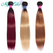 My Like перуанский прямые волосы Ombre Human Hair Bundles 1b 99j Burgundy 1b% 2F27 Blonde 1b% 2F30 Nonremy Ombre Hair Weave Extension