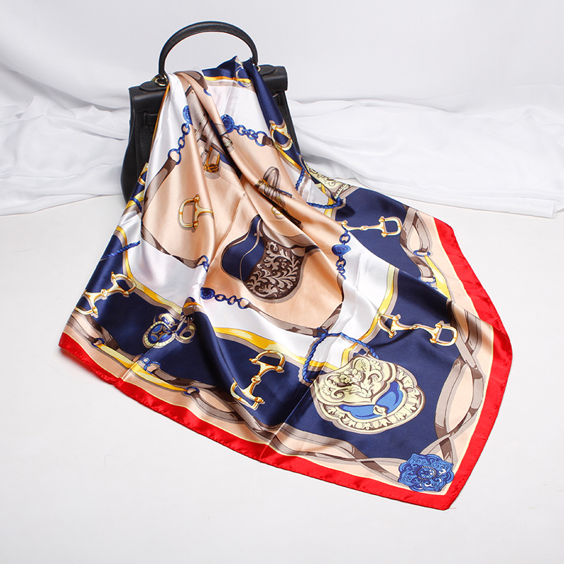 Soft Artificial Silk Square Scarf Women Carriage Chain Fashion Elegant Printing Color Matching Necker Chief Female 2020 Spring