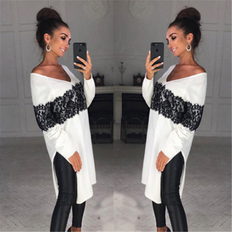 Long Style Ladies Women Long Sleeve Casual Sweater Asymmetric Loose Tops Lace Patchwork Pullovers