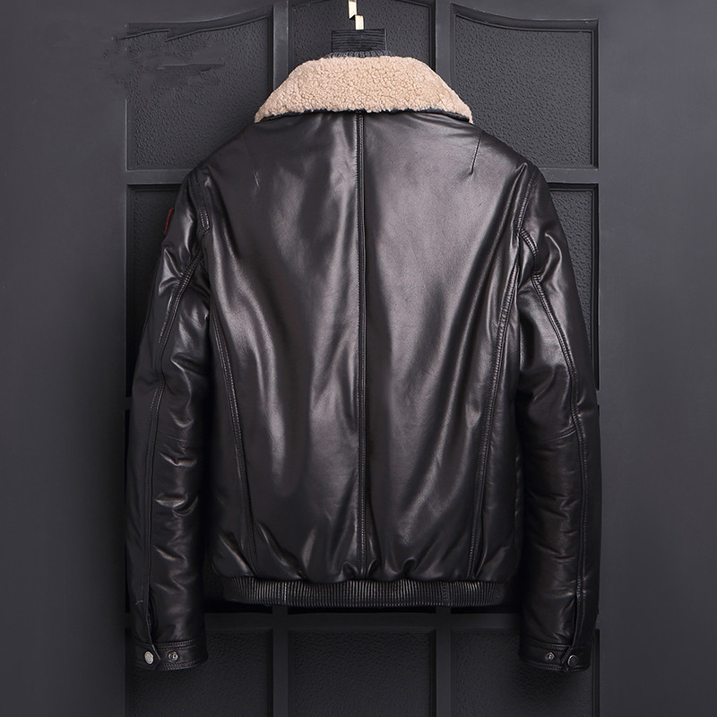 Genuine Leather Jacket Lamb Fur Collar Down Jacket Autumn Winter Jacket Men Sheepskin Short Coat F-LL-7166 MY1180